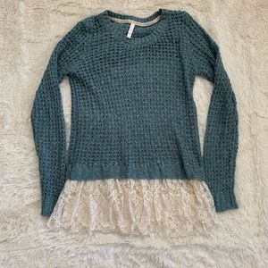 Teal Knit Sweater with Lace Hem